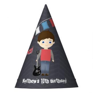 Menino do aniversário da estrela do rock chapéu de festa