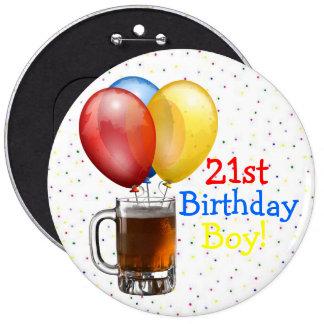 Menino do aniversário de Large-21st! Bóton Redondo 15.24cm