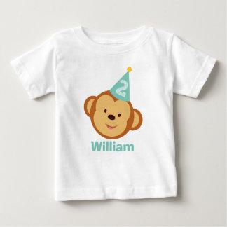 Menino do macaco do segundo aniversário com nome t-shirts