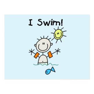 Menino eu nado t-shirt e presentes cartão postal