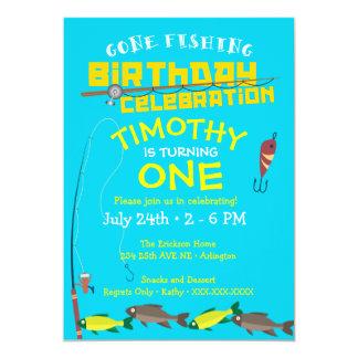 Menino ido pescar o convite do aniversário