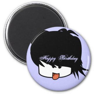Menino ultra bonito do Anime do feliz aniversario Ímã Redondo 5.08cm
