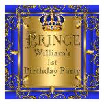 Meninos 2 do primeiro aniversario do príncipe convite quadrado 13.35 x 13.35cm