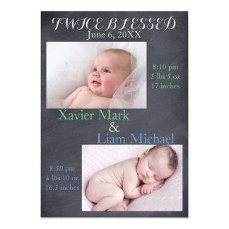 Meninos gêmeos duas vezes abençoados - anúncio do convite 12.7 x 17.78cm