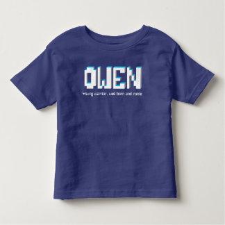 Meninos nome de Owen e texto dos pixéis do T-shirt