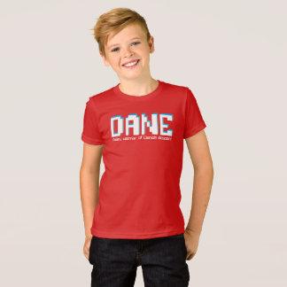 Meninos nome do dinamarquês e texto dos pixéis do camiseta