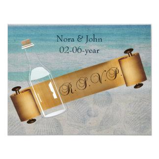 Mensagem em um casamento de praia da garrafa convite 10.79 x 13.97cm