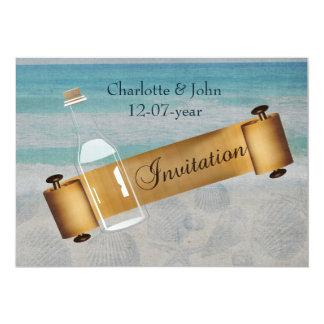 Mensagem em um casamento de praia da garrafa convite 12.7 x 17.78cm