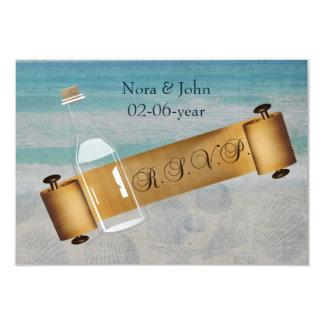 Mensagem em um casamento de praia da garrafa convite 8.89 x 12.7cm