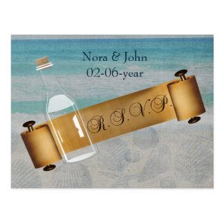 mensagem em uma garrafa, rsvp do casamento de cartão postal
