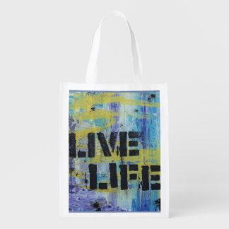 Mensagem viva do abstrato da vida sacola ecológica