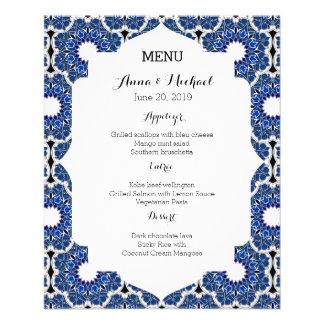 Menu azul bonito do casamento do índigo Rococo