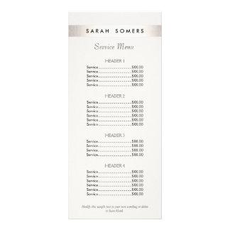 Menu branco da tabela de preços do salão de beleza 10.16 x 22.86cm panfleto