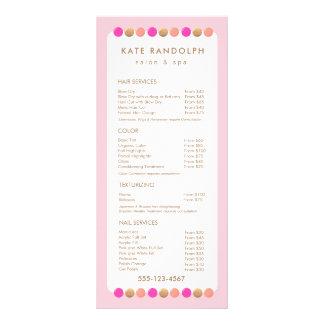 Menu cor-de-rosa bonito do serviço da tabela de