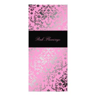 Menu cor-de-rosa do flamingo do damasco do brilho  10.16 x 22.86cm panfleto