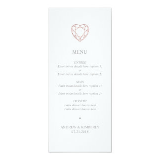 """Menu cor-de-rosa simples do casamento do coração convite 10.16"""" x 23.49cm"""