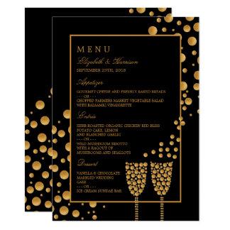 Menu da festa de noivado das bolhas de Champagne Convite 11.30 X 15.87cm