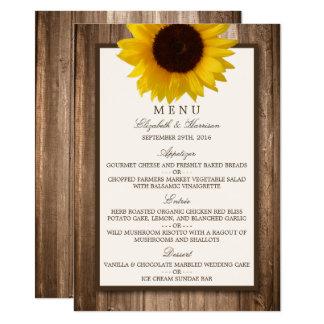 Menu de madeira rústico do casamento do girassol & convite 11.30 x 15.87cm