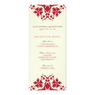 """Menu decorativo da recepção de casamento do selo convite 10.16"""" x 23.49cm"""