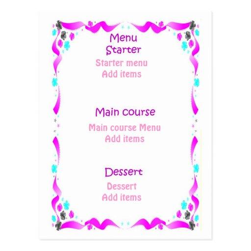 Menu do casamento - bolo de casamento cartoes postais
