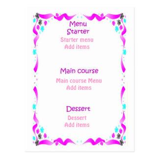 Menu do casamento - bolo de casamento com cartão postal