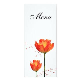 """Menu do casamento da aguarela das tulipas convite 10.16"""" x 23.49cm"""