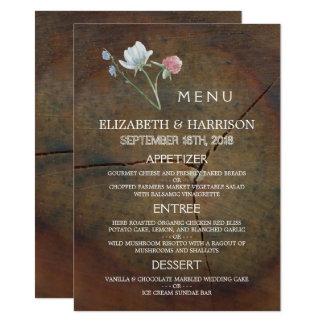 Menu do casamento da madeira de carvalho do convite 11.30 x 15.87cm