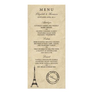 Menu do casamento do carimbo postal de Paris da 10.16 X 22.86cm Panfleto