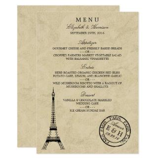 Menu do casamento do carimbo postal de Paris da Convite 11.30 X 15.87cm