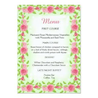 Menu do casamento do rosa do rosa convite 12.7 x 17.78cm