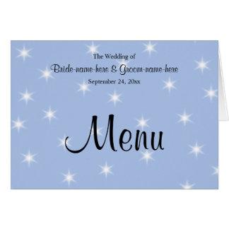 Menu do casamento na luz - azul com estrelas cartão de nota