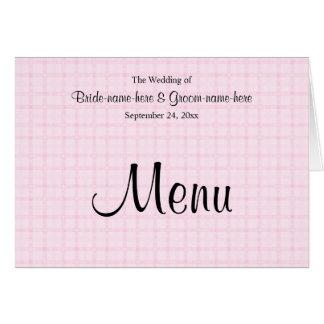Menu do casamento na verificação rosa pálido e no cartão de nota