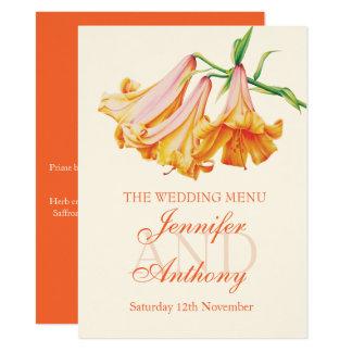 Menu do comensal de casamento das belas artes do convite 13.97 x 19.05cm