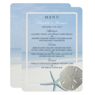 Menu do dólar de areia e do casamento de praia da convite 11.30 x 15.87cm