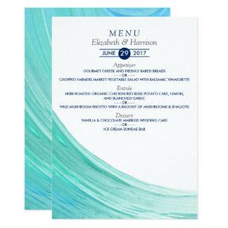 Menu elegante do casamento de praia das marés de convite 11.30 x 15.87cm