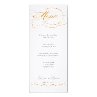 """Menu elegante do casamento do roteiro - laranja convite 10.16"""" x 23.49cm"""