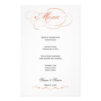 Menu elegante do casamento do roteiro - laranja papelaria