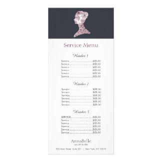 Menu floral da tabela de preços do salão de beleza 10.16 x 22.86cm panfleto