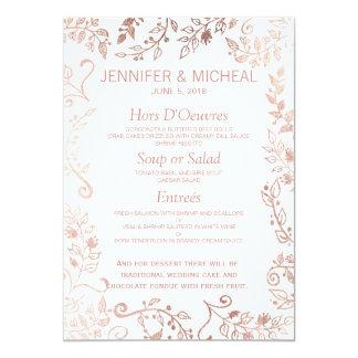 Menu floral do casamento do ouro elegante do rosa convite 12.7 x 17.78cm