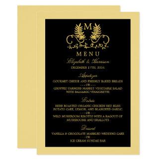 Menu floral dourado do casamento do emblema convite 11.30 x 15.87cm