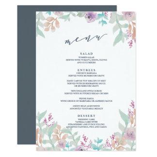 Menu floral fresco do casamento da aguarela convite 12.7 x 17.78cm