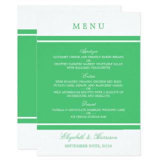 Menu moderno do casamento do verde esmeralda convite 11.30 x 15.87cm