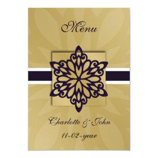 menu roxo do casamento no inverno dos flocos de convite 12.7 x 17.78cm