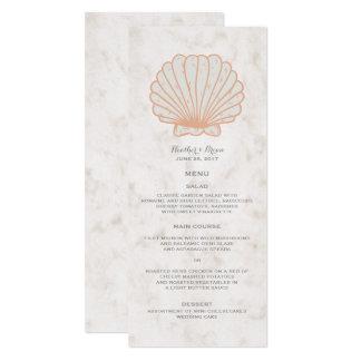 """Menu rústico alaranjado do casamento do Seashell Convite 10.16"""" X 23.49cm"""