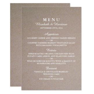 Menu rústico do casamento de Kraft do país Convite 11.30 X 15.87cm