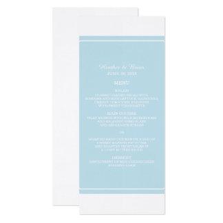 """Menu simplesmente elegante do casamento do azul convite 10.16"""" x 23.49cm"""