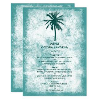 Menu tropical do casamento de praia da palmeira convite 11.30 x 15.87cm
