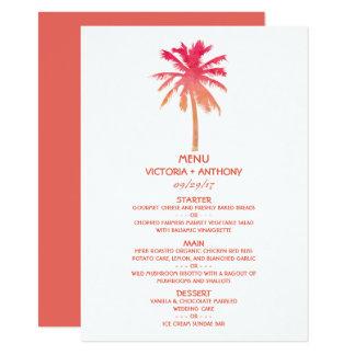 Menu tropical do casamento de praia da palmeira do convite 11.30 x 15.87cm