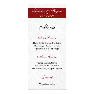 Menus do casamento tema damasco 10.16 x 22.86cm panfleto