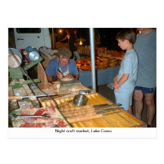 Mercado do artesanato da noite, Menaggio, lago Com Cartão Postal
